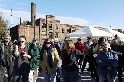 Tour group at the West Baltimore Farmer's Market, Greater Rosemont Walking Tour