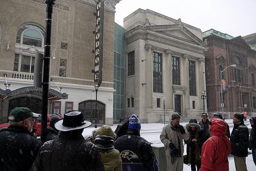 Tour group at the Hippodrome Theatre, West Side Walking Tour