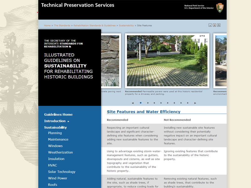 Site Features—Sustainability Guidelines—Technical Preservation Services, National Park Service