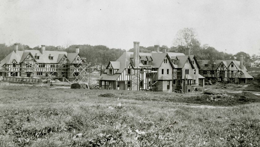 Photograph of homes at Chancery Square under construction in 1913, taken from location of  Saint Martins Road. Courtesy the Guilford Association.