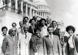 Parren Mitchell and 14 other members of the Congressional Black Caucus posed on the steps of the U.S. Capitol, 1977. Courtesy  National Archives and Records Administration/U.S. House of Representatives.