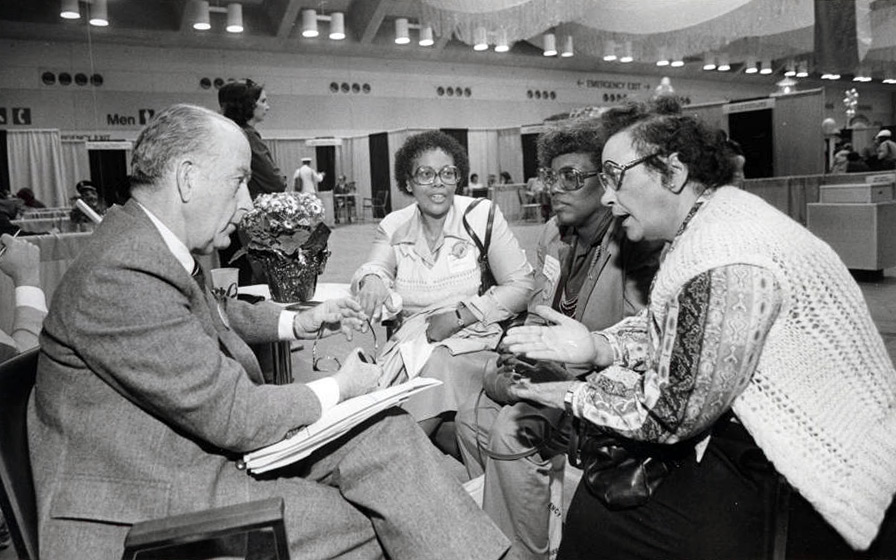 Activists Carmena F. Watson, Barbara C. Ferguson, and Madeline Pullen meet with Mayor William Donald Schaefer, 1983. Courtesy Digital Maryland, mdaa321.