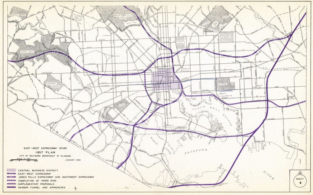 Map from Study for East-West Expressway, 1957. Johns Hopkins University, Sheridan Libraries.