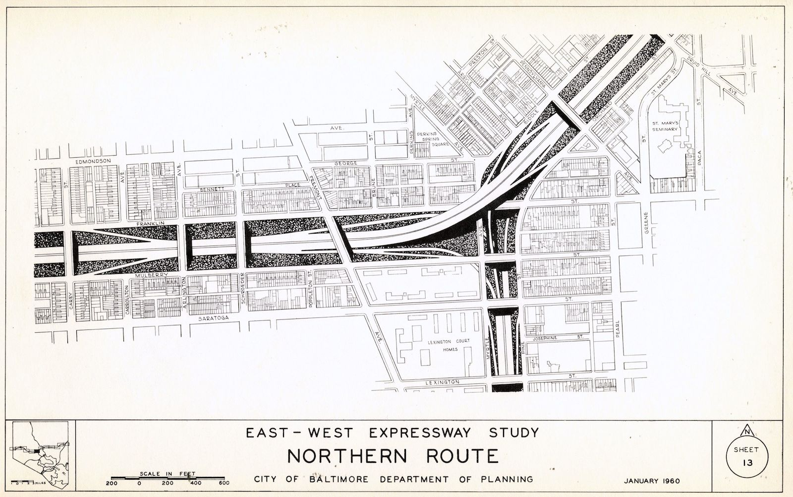 "Illustration from ""Study for East-West Expressway,"" Volume 2, Sheet 3 (1960). Courtesy JScholarship."