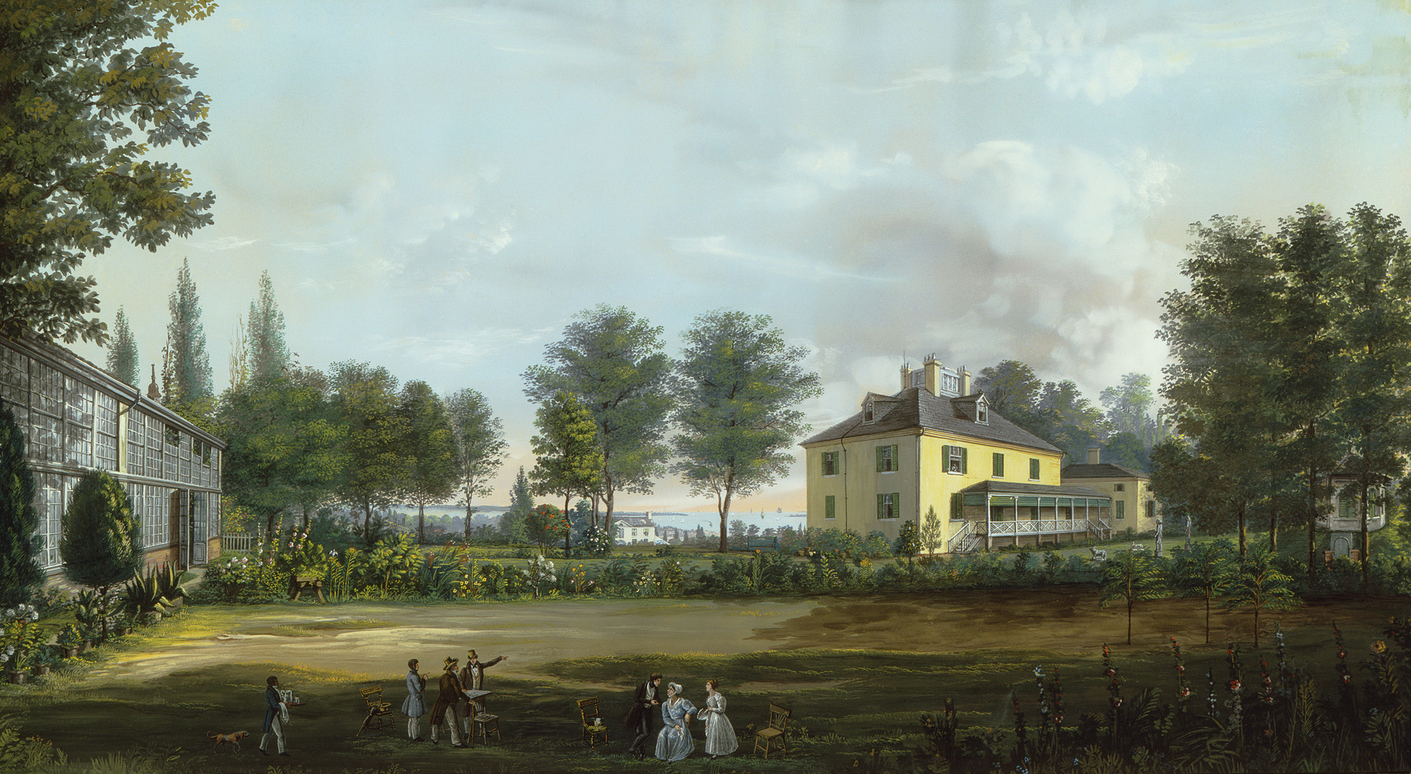 """Harlem, the Country House of Dr. Edmondson,"" by Nicolino V. Calyo, 1834. Courtesy Winterthur Museum Collections, 1968.0060 A."