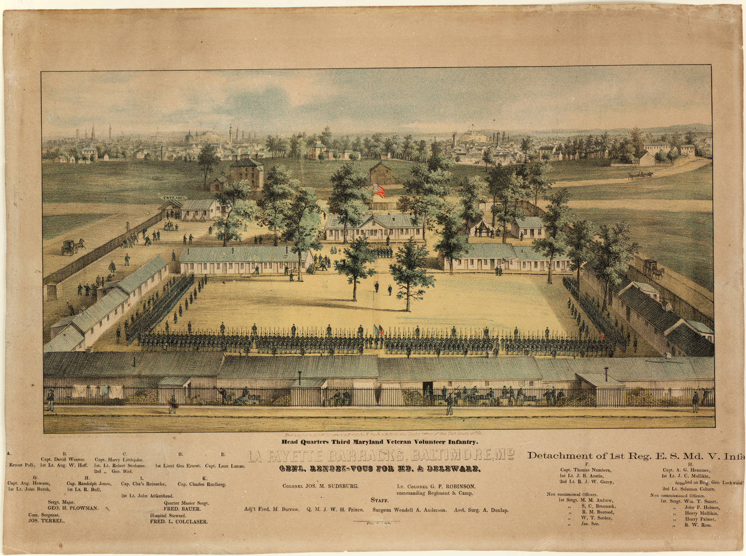 Lafayette Barracks, c. 1862. Courtesy Enoch Pratt Free Library. mdcp122.