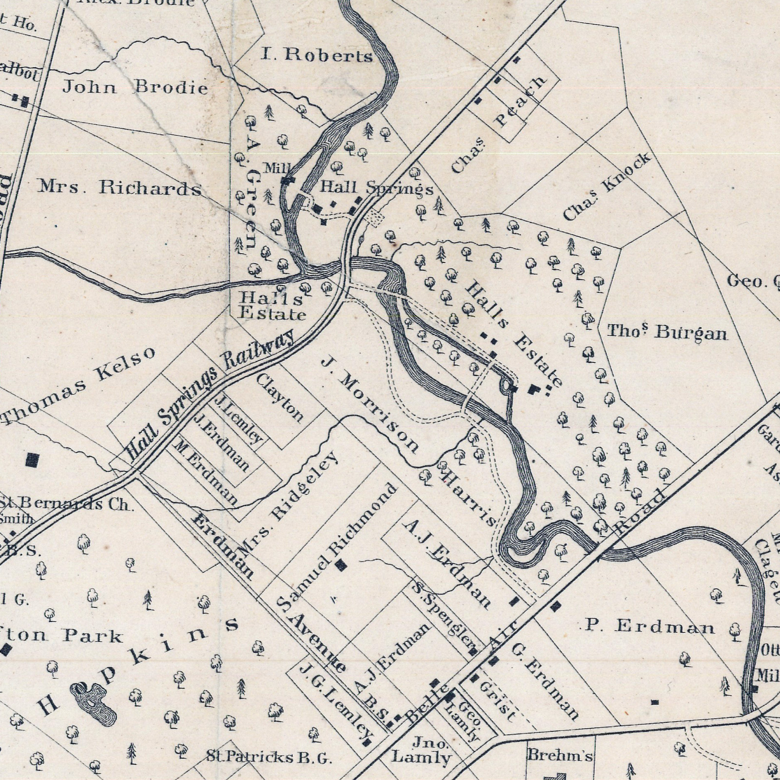 Area of Hall's Spring, from Map of the city and suburbs of Baltimore, 1853, William Sides. Courtesy JScholarship.