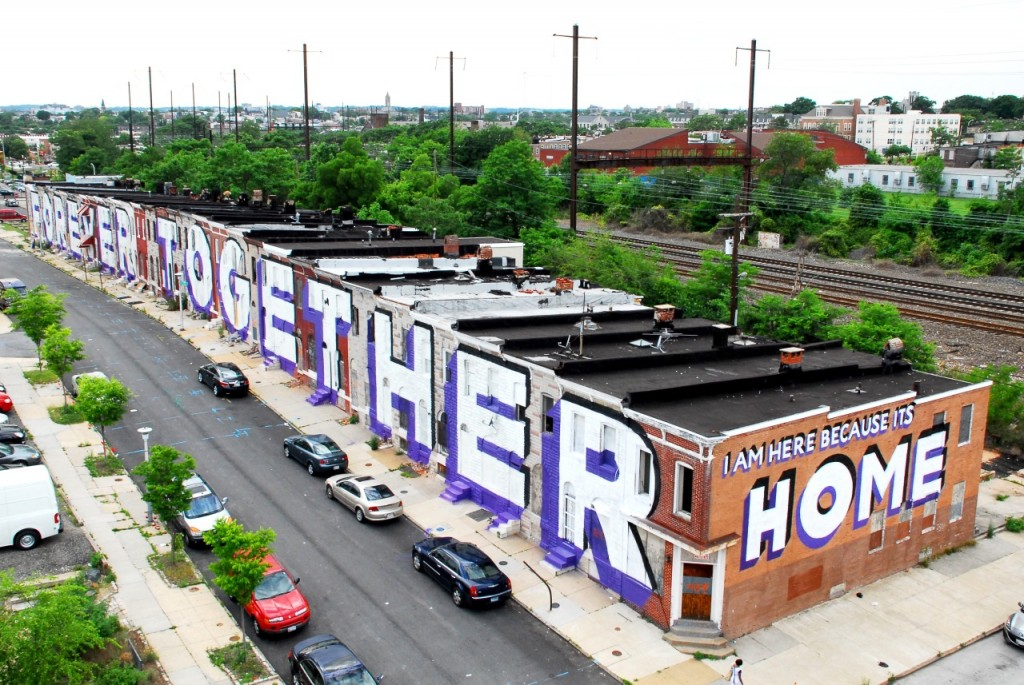 """View of """"Love Letter to Baltimore: Wall 1/2"""" public mural by Stephen ESPO Powers. Photo by Matthew Kuborn, June 2014. Courtesy Stephen ESPO Powers."""