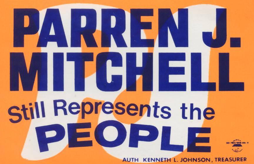 Sticker from 1976 campaign. Courtesy Digital Commons @ UM Carey Law, Larry Gibson Collection.