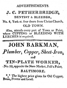 An advertisement in the 1814 directory offers services no longer rendered by dentists: cupping and bleeding with leeches.