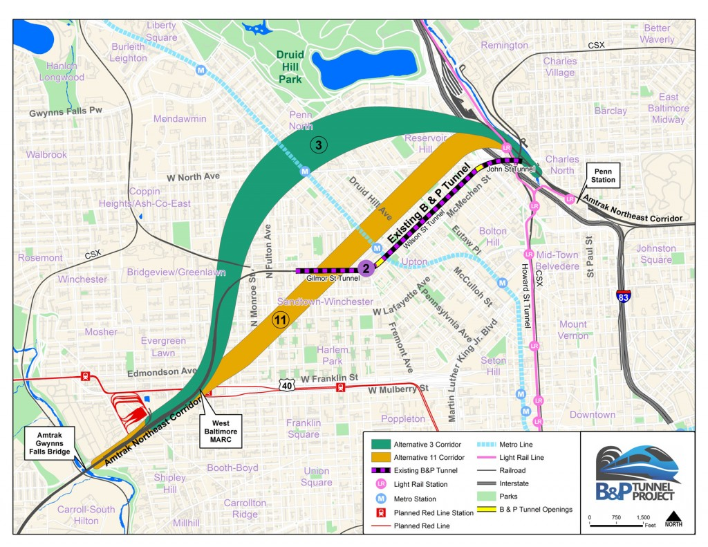 Map of existing tunnel, Alternative 3, and Alternative 11 from B&P Tunnel Project.