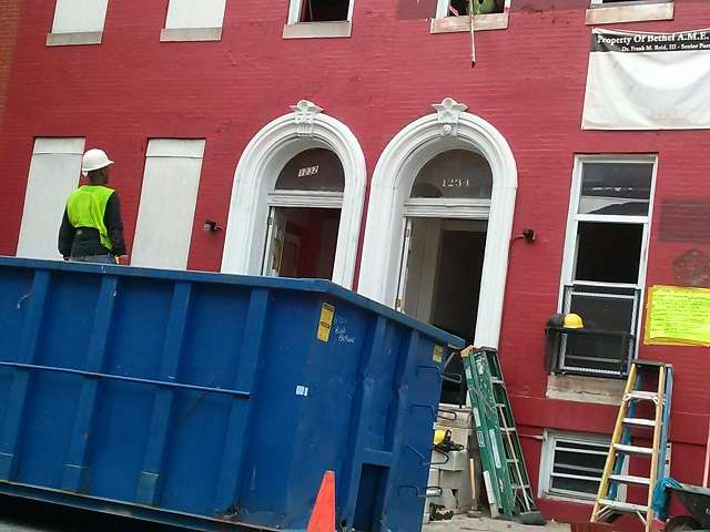 Demoltion contractor at 1234 Druid Hill Avenue, September 2015. Photo courtesy Dr. Steva A. Komeh, The Historic Marble Hill Community Association.