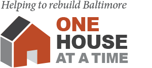 "A graphic of an abstract red house next to the words ""Helping to rebuild Baltimore one house at a time"""