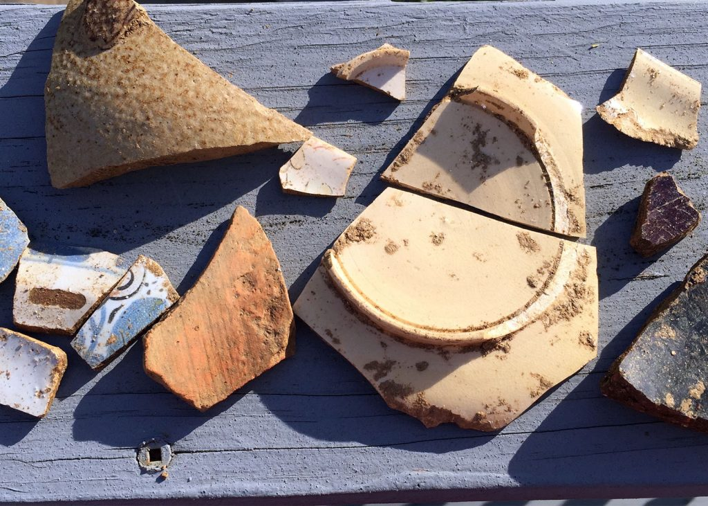 Artifacts from the Herring Run Archaeology Project, 2016 April 26.