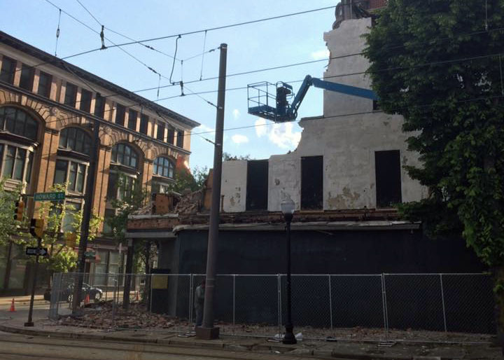Demolition of the Franklin Delphy Hotel. Courtesy Peter Smith, May 19, 2016.
