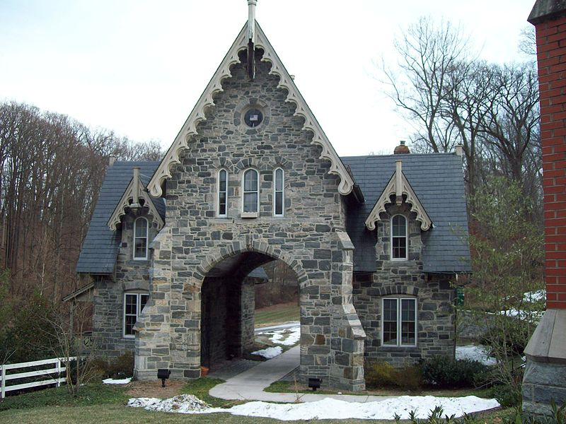 Gothic stone cottage entrance to Sheppard Pratt Campus