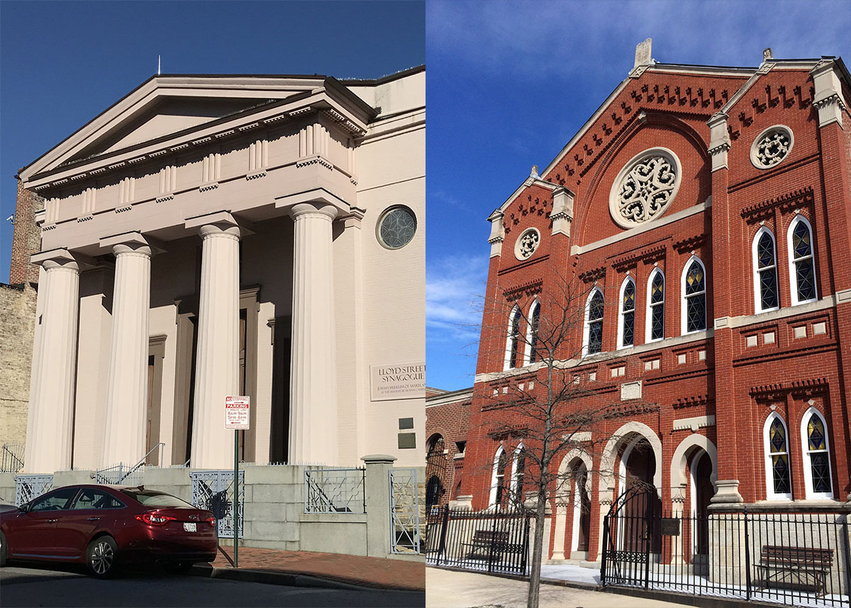 Side by side images of a painted synagogue with columns in front and an ornate brick synagoe with arched windows.